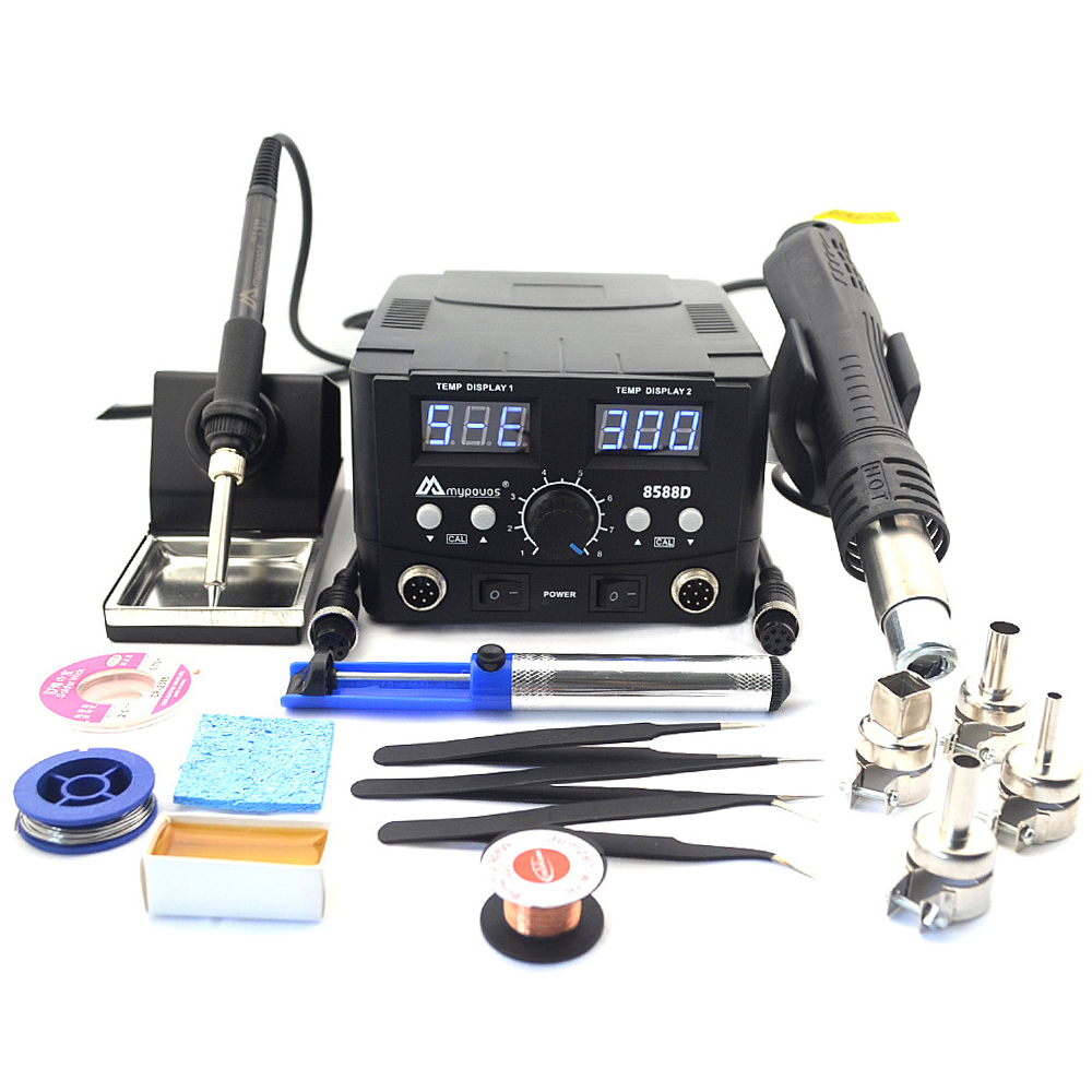 MYPOVOS 8588D Double Digital Display Electric Soldering Irons +Hot Air Gun Better SMD Rework Station Upgrade From 8586 8586D+ 87