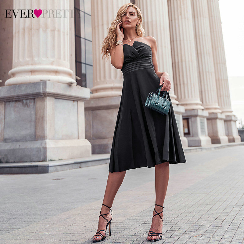 Sexy Black Cocktail Dresses Ever Pretty EP03103BK A-Line Strapless Knee-Length Ladies Evening Party Gowns Vestido Coktail 2020
