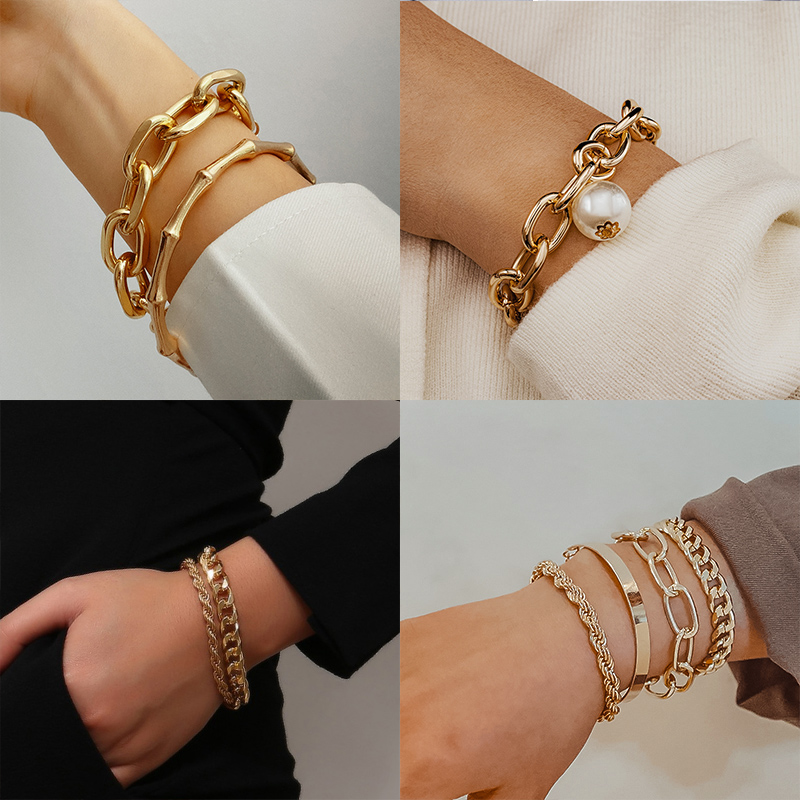 2021 Fashion Gold Multilayer Beads Pearl Bracelets for Women Beaded Chain Bracelets Set Female Bracelet Bangles Trendy Jewelry