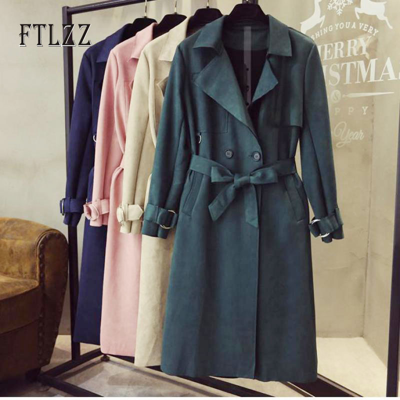 Fashion Women Suede Trench Coat 2019 New Spring Autumn Slim With Belt Meidum Long Windbreaker Ladies Overcoat Korean Clothing