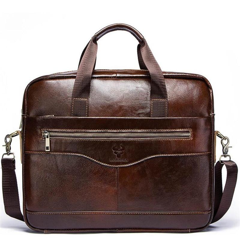 Genuine Leather Men'S Briefcase Vintage Business Computer Bag Luxury Fashion Shoulder Messenger Bag Male Postman Male Handbags