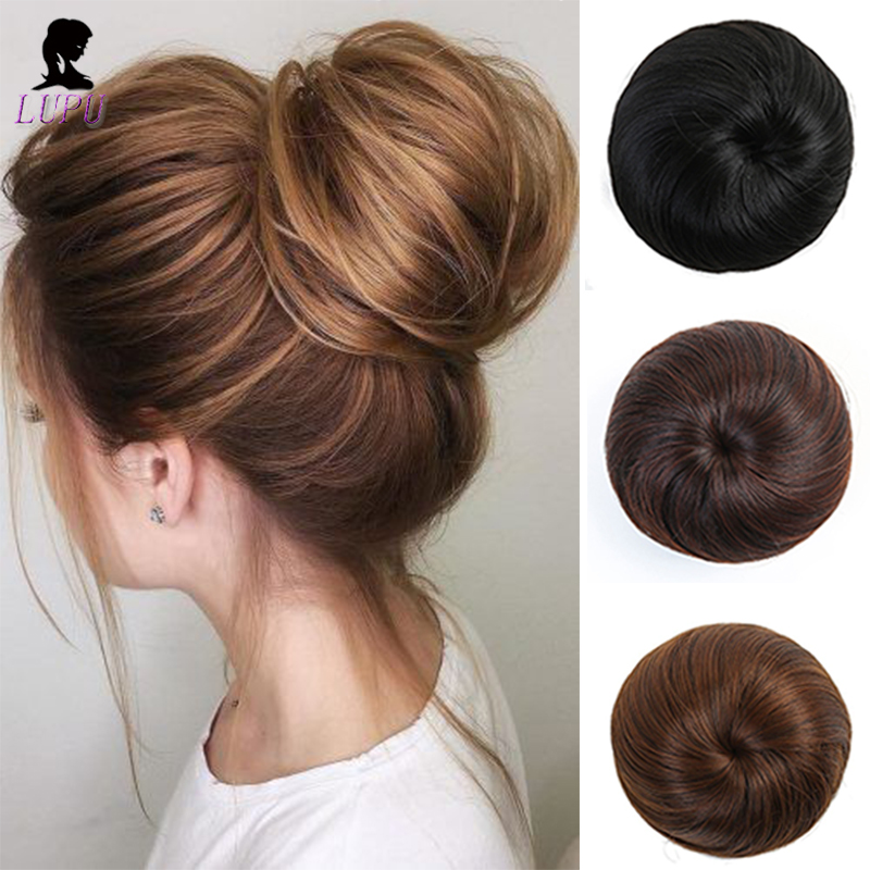 LUPU Synthetic Hair Bun Chignon Clip In Hair Extension Hairpiece Elastic Band Donut Roller High Temperture Fiber For Women