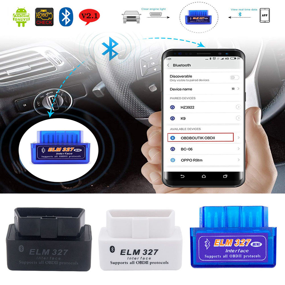 Car Diagnostic Tool OBD2 Scanner V2.1 ELM327 Adapter For Infiniti Honda Mazda Lexus Nissan Bluetooth OBDII Scanner ELM <font><b>327</b></font> OBD <font><b>2</b></font> image
