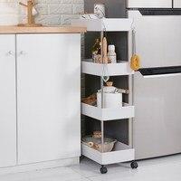 Movable Swivel Wheels Kitchen Storage Racks Large Capacity Crevice Household Bathroom Gap Trolley Storage Rack Organization