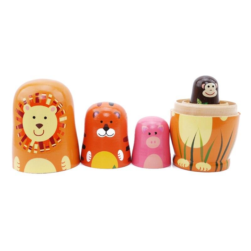 5 шт./компл. дети милые Веселые деревянная кукла мультфильм животных Краски матрешки русская кукла-матрешка подарок для ребенка