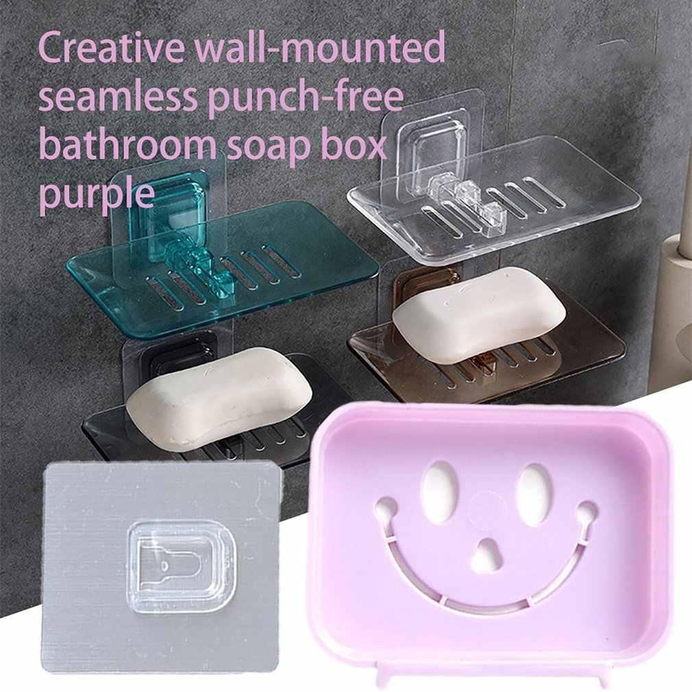 Plastikowa mydelniczka łazienka bez szwu zaoszczędzić miejsce naklejki darmowa cios wiszące na ścianie mydło Hollow opróżniania przeciwpoślizgowe mydło Box