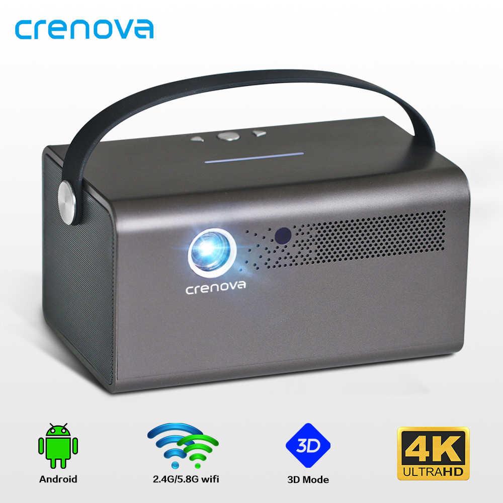 CRENOVA 2019 Proyector láser DLP más nuevo con 5G WIFI Home Theater película Video LED soporte 4K Video 600 lúmenes Ansi