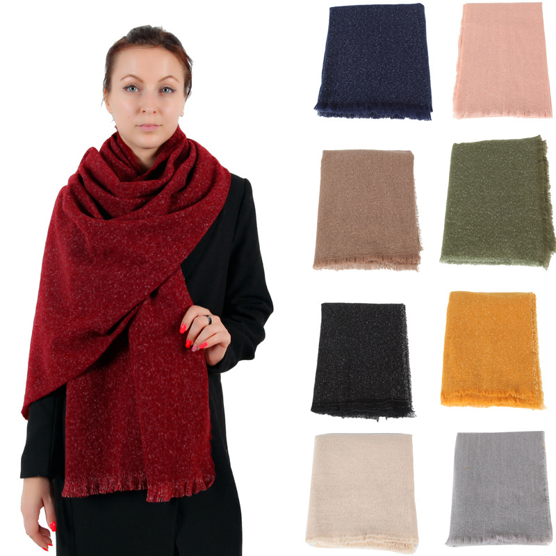 Autumn and winter new solid color scarf thickening ladies fashion shawl wild couples to keep warm long section out cold bib A275