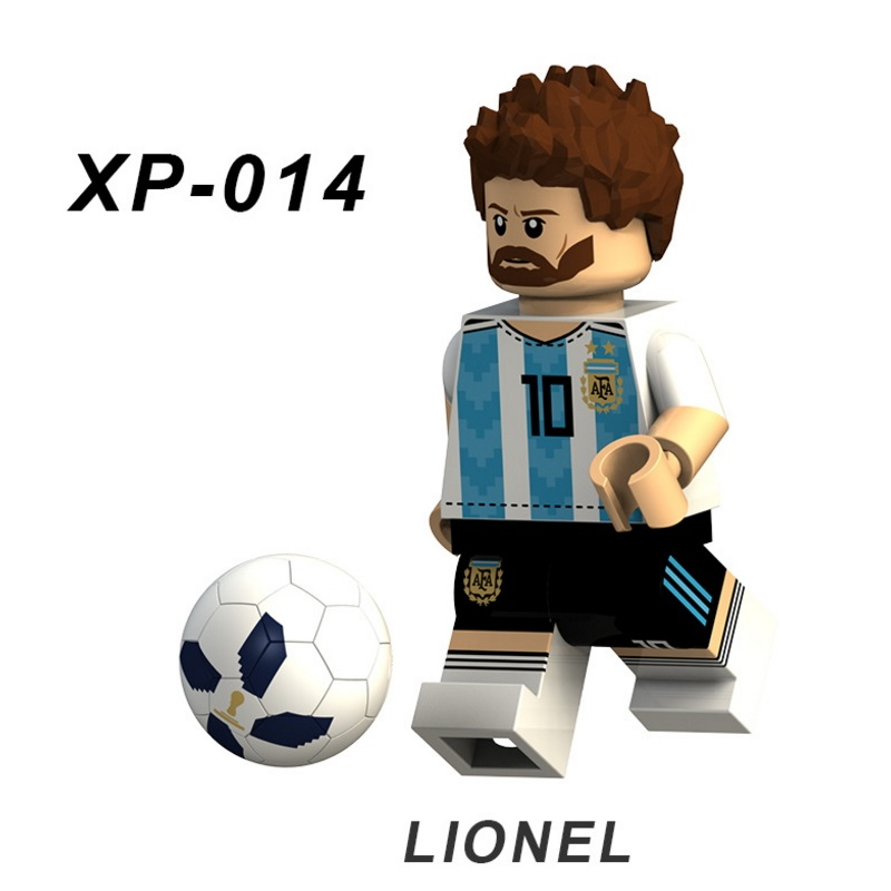 Single Lionel Messi Football Team Player Figures Neymar Beckham Building Blocks Figure Bricks Toy Kids Compatible Legoingly Toys