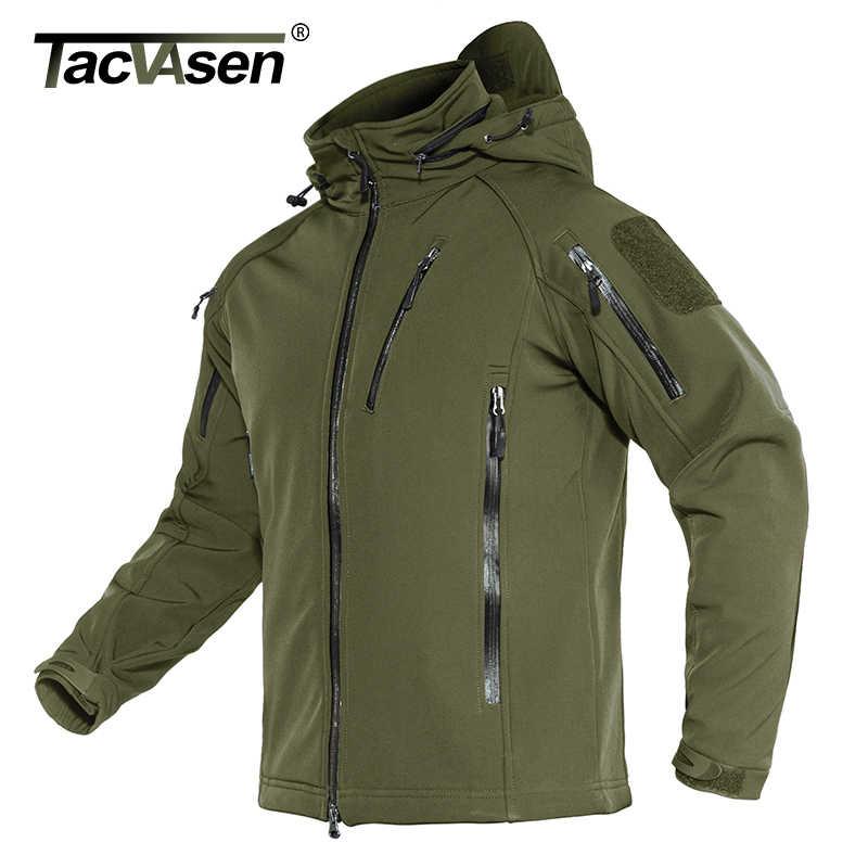 Tacvasen jaqueta militar tática airsoft masculina, de fleece, forro, com capuz, softshell, casaco exército, à prova de vento, casaco de assalto 4xl inverno