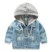 Baby Boys Jacket Spring Autumn Hooded Hole Denim Jacket For Baby Girl Coat Jacket Kids Outerwear Children Clothes 2 8 10 12 Year fashion autumn winter jacket for boys children jacket kids hooded warm outerwear coat for boy clothes 2 10 year baby boys jacket