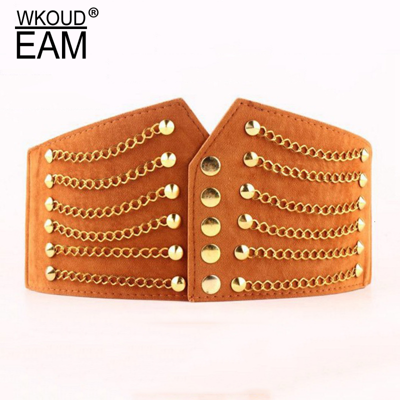 WKOUD EAM 2019 New Fashion Autumn Trendy Wid Belt For Women Rivet Metal Chains Girdle Imitation Leather Suede Belt Female A92