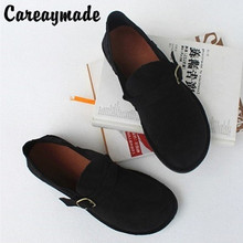 Careaymade-Real leather flat heel soft sole womens shoes,retro pure hand-made top breathable comfortable single shoes