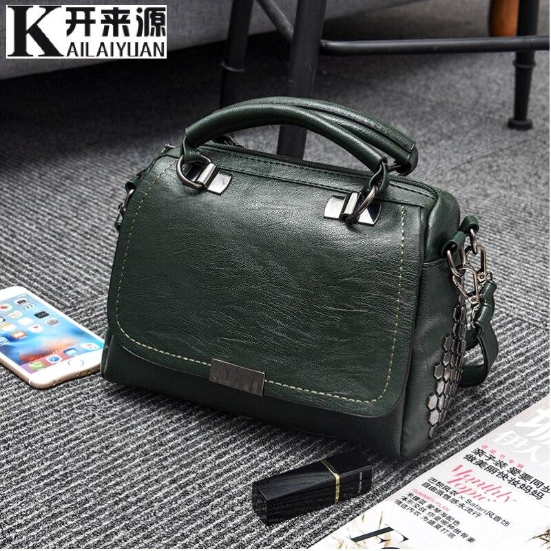 100% Genuine Leather Women Handbags 2019 New OL Commuter Bag Stereotypes Fashion Handbags Slung Shoulder Bag Vintage Messenger