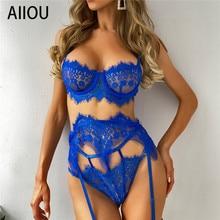 AIIOU Women Sexy Lingerie Set Erotic Bra and Fishnet G-string Underwear Lace Sleepwear Erotic Babydo