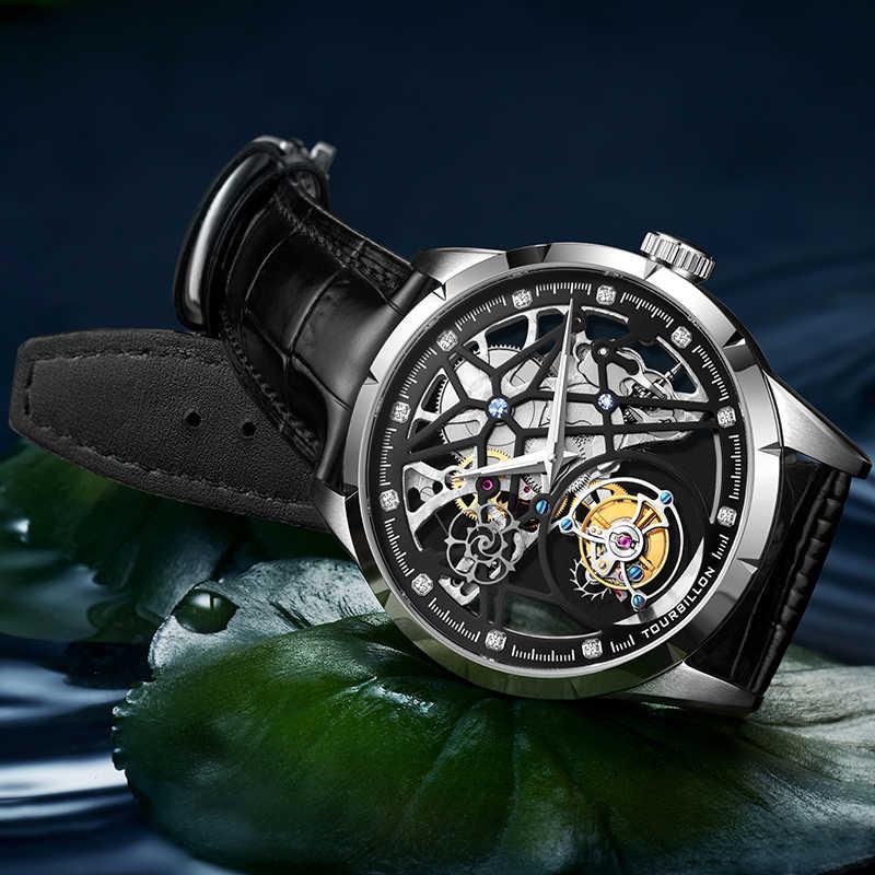 שלד Tourbillon שעון מכאני עסקי גברים שעונים למעלה מותג יוקרה עמיד למים ספיר שעון לגברים Relogio Masculino
