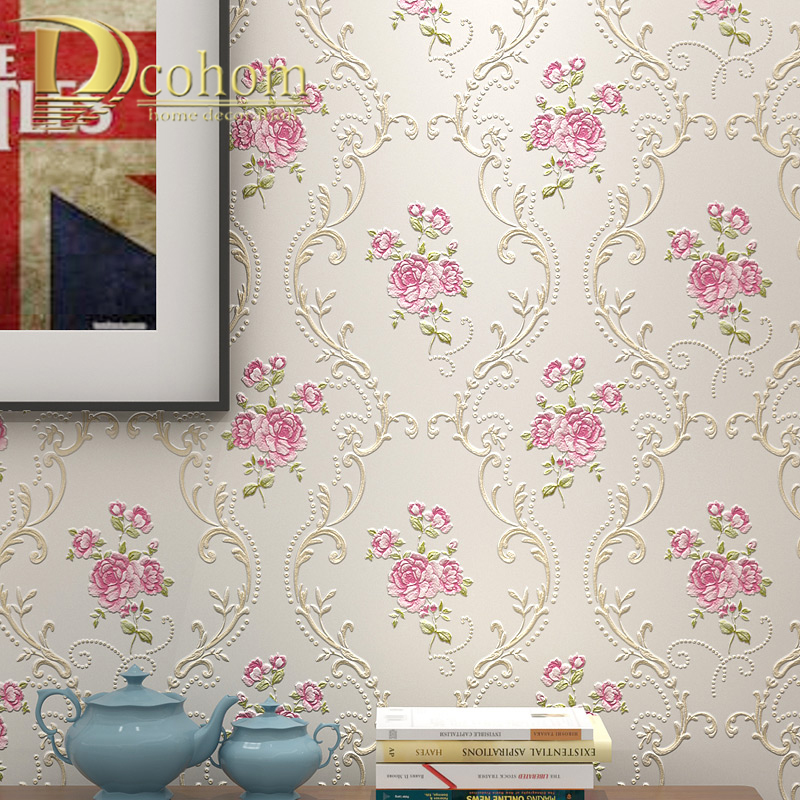 European Pastoral Damask Floral Wallpaper For Walls Bedroom Living Room Decor Embossed Pink Purple 3D Flower Wall Paper Rolls