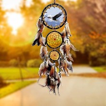 Dream Catcher Beaded Natural Feathers Handcraft Chic Hanging Ornaments Bedroom Wall Decor Small Shells Native Ring Car
