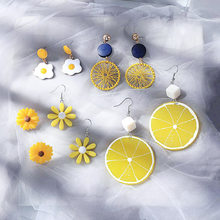 Korean Creative Personality Yellow Series Eggs Flowers Dangle Earrings for Fashion Sweet Girl Women's Accessories Jewelry