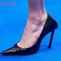 2020 New Sexy High Heels Runway Party Shoes Women Pointed Toe Genuine Leather Women Pumps Candy Color Stiletto Zapatos De Mujer
