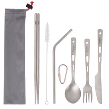 Tiartisan Lightweight portable Pure Titanium 5 pieces tableware sets spoon fork knife chopsticks and straw set in one case
