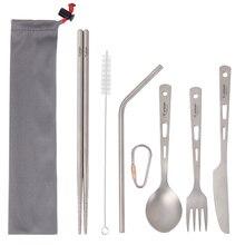 Tiartisan conjunto de talheres de titânio puro, 5 peças portátil leve conjunto de colher garfo faca hashi e palha conjunto em um caso