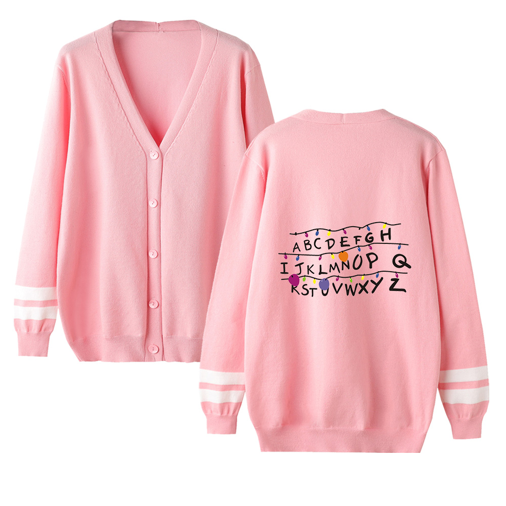 Stranger Things Cardigan Sweater Men/women New Fashion Casual Harajuku  V-neck Sweater Stranger Things Popular Pink Casual Tops