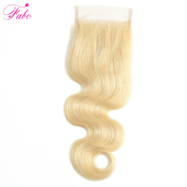 FABC Hair 613 mechones con cierre brasileño Remy mechones de cabello humano postizo Body Wave 4x4 Cierre de encaje transparente con mechones