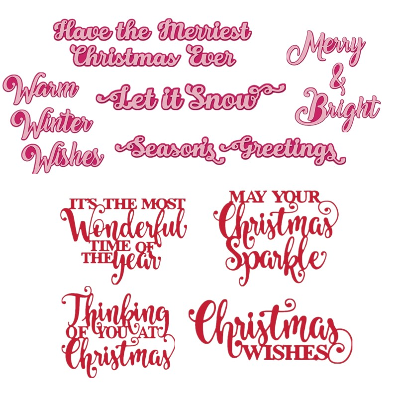 Merry Christmas Sending Greetings Let It Snow Phrases Metal Cutting Dies Stencil For DIY Scrapbooking Paper Cards Craft New 2019