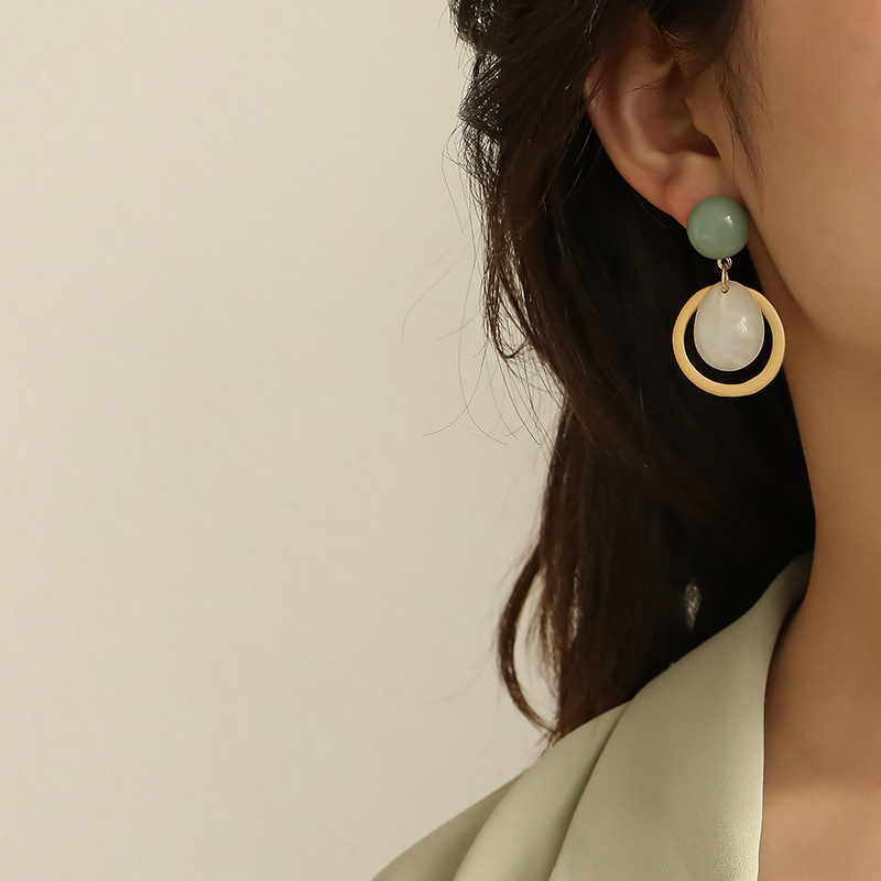 AENSOA 2020 Korean Geometric Round Pendant Drop Earrings For Women Simple Resin Acrylic Small Geometric Earring Jewelry  Earring