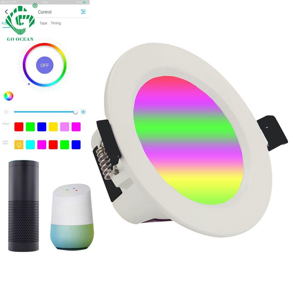 10W LED Downlight 2.4GHz télécommande intelligente avec Google Home App Amazon Alexa commande vocale vers le bas de la couleur réglable de la lumière