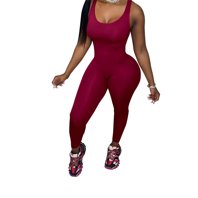 hirigin 2020 New Women Sleeveless U Neck Solid Bodycon Jumpsuit One piece Clubwear Sports Pants Jumpsuit Romper Leotard Trousers