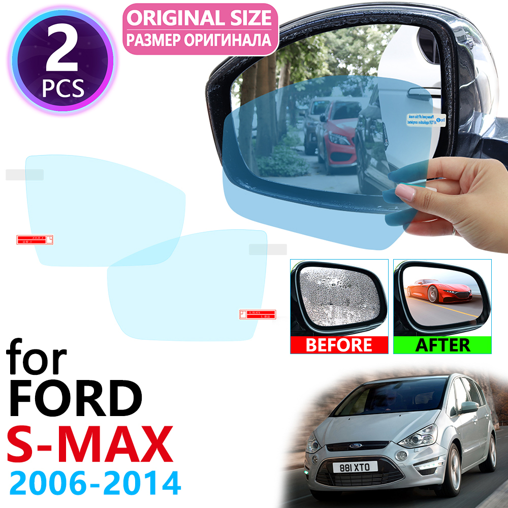 For Ford S-Max MK1 Smax S Max 2006~2014 Full Cover Rearview Mirror Rainproof Anti Fog Film Accessories 2007 2008 2009 2010 2011