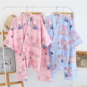 Image 4 - 2019 herbst Japanischen Pyjamas für Frauen Baumwolle Doppel Gaze Pijama Femme Nachtwäsche Set Paar Nacht Anzüge Frauen Pyjamas Homewear