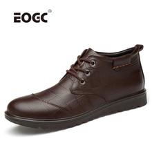 цена Genuine Leather Men Boots Warm Plush Fur Ankle Snow Boots Lace Up Non Slip Winter Shoes Adult Male Men Shoes онлайн в 2017 году