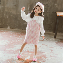 girls overall skirt 2pcs Clothes for Children Girls Set Plaid Dress+blouse Dress with Sleeveless Kids Outfits