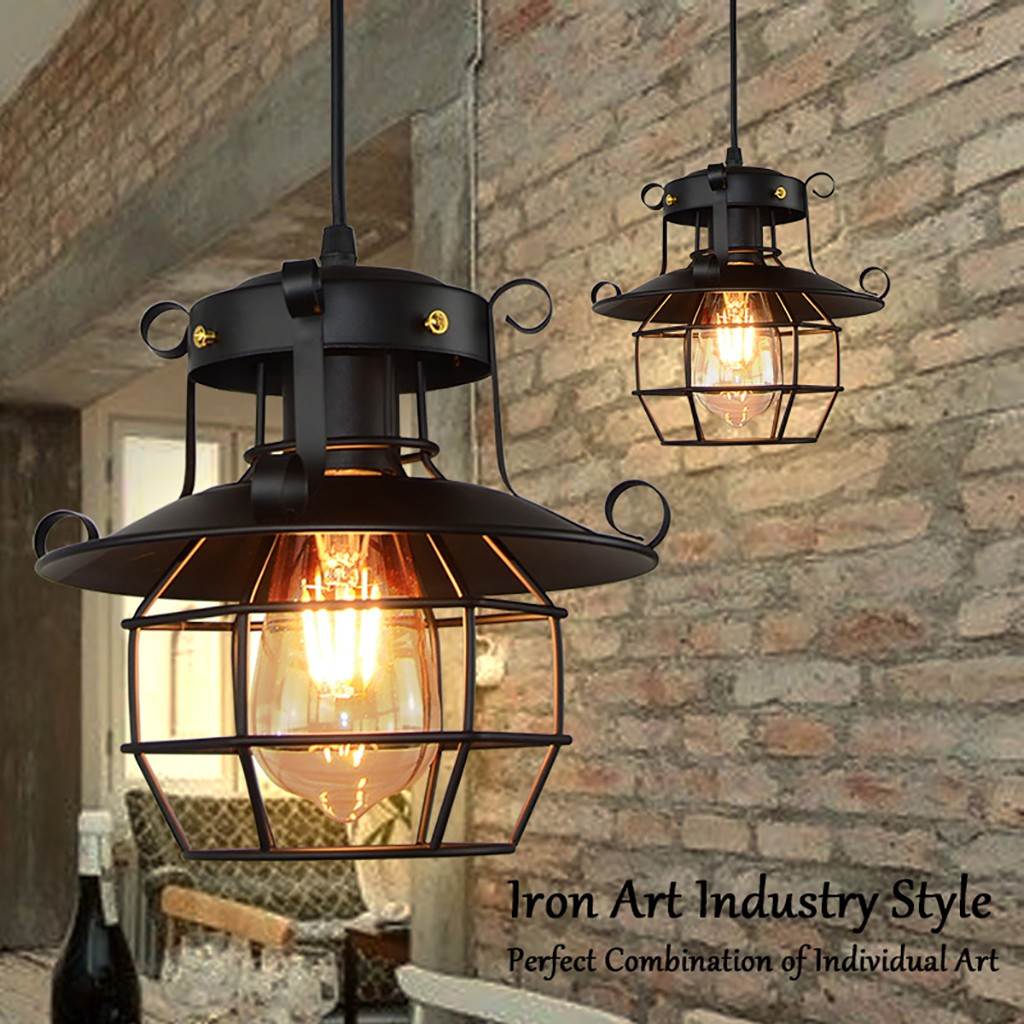 Vintage Industrial Style Metal Fishermans Cage Ceiling Pendant Light Lamp Shades Indoor Outdoor Home Decoracion Lighting Lamp Outdoor Wall Lamps Aliexpress