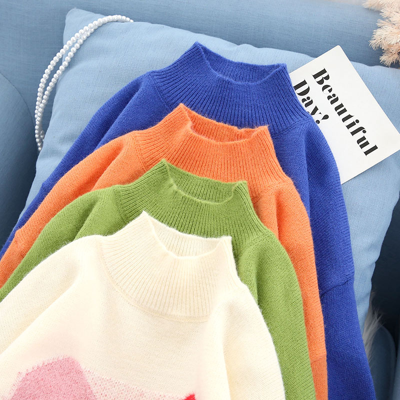 sweet turtleneck women sweater and pullovers knitted cute girl female lady loose elegant pulls fashion outwear coat tops