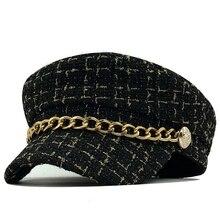 Новинка, женские шапки, твидовые клетчатые кепки newsboy с цепью, плоский верх, козырек, кепка, винтажная клетчатая кепка в стиле милитари, женские шапки на осень и зиму