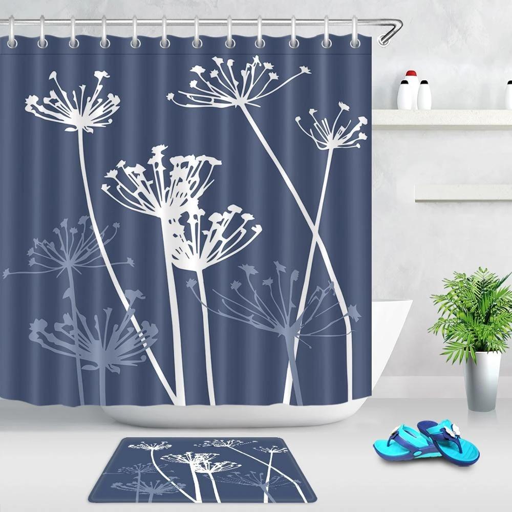 dandelion shower curtains blue plant flower cartoon bath curtain polyester fabric waterproof curtains for bathroom with 12 hooks