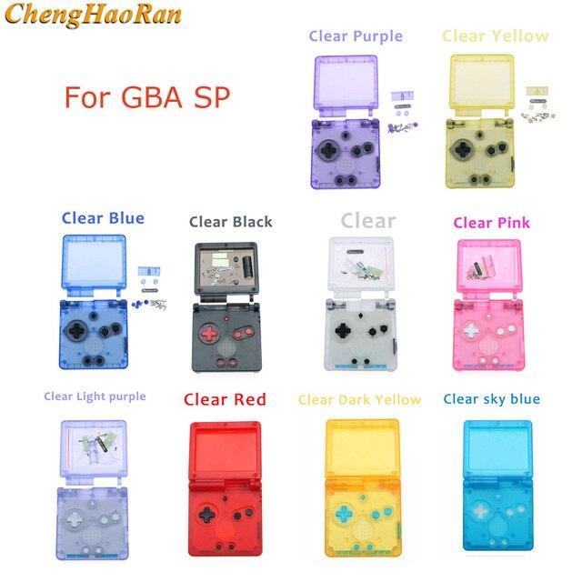 1 مجموعة لون واضح شفاف ل GBA SP نينتندو d Gameboy presancesp كامل الإسكان غطاء حماية استبدال الإسكان الكامل أزرار تشبه الأصداف