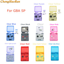 1set Clear Color Transparent For GBA SP Nintend Gameboy AdvanceSP Full Housing Case Cover Replacement Full Housing Shell buttons