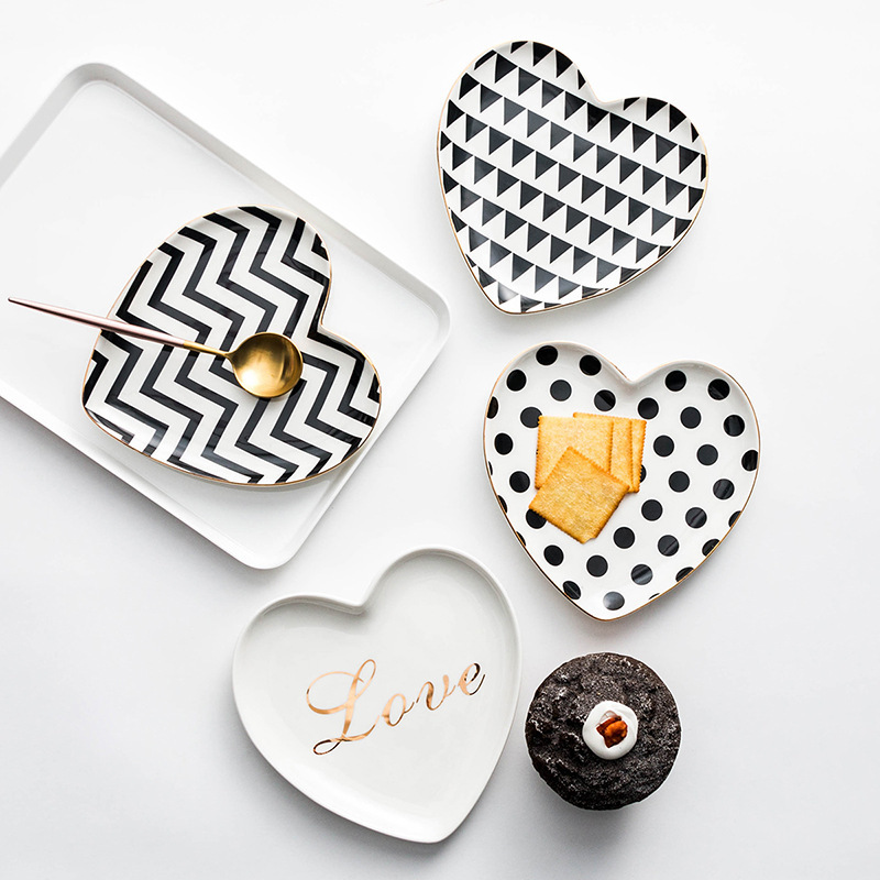 Embossed Heart Shaped Dessert Plate Snack Dish Jewelry Tray
