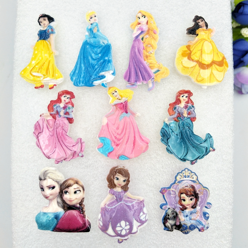 10pcs Mini Lovely Princess Series Flatback Resin  Kawaii  Cabochons DIY Scrapbook Hair Bows Center