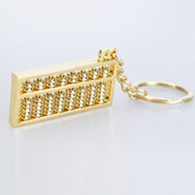 Keychain Chinese Style Crafted Novelty Zinc Alloy Gold Abacus 9 Rows Key Ring Unique Pendant(China)
