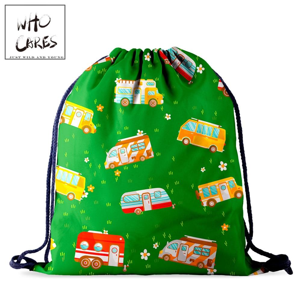 Who Cares Women Drawstring Storage Bag Backpack For Children  3D Printing Green Gift School Storage Rucksack Kids Shoes Bag
