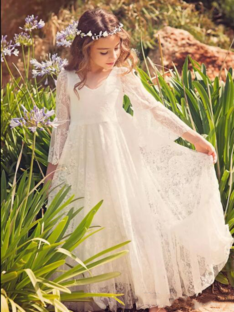 Boho Lace Flower Girl Dress For Wedding Bohemian Floor Length A Line Kids First Communion Dresses Holy Birthday Party