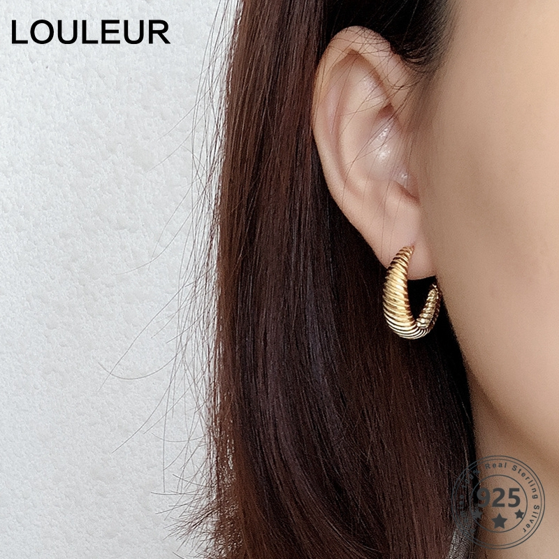 LouLeur Real 925 Sterling Silver Twist Stud Earrings Vintage French Style Minimalist Earrings For Women Luxury Fine Jewelry Gift