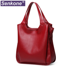 100% Genuine Leather Bag Ladies Hobos Bags Tote Women's Leather Handbags Big Female Shoulder Bag Red Handbags for Women 2020 New