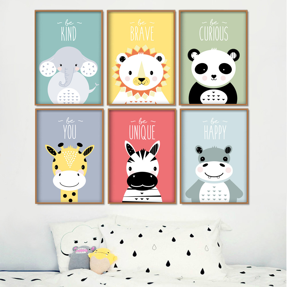 Lion Panda Giraffe Zebra Nursery Wall Art Canvas Painting Cartoon Nordic Posters & Prints Pictures Girl Boy Kids Room Decor
